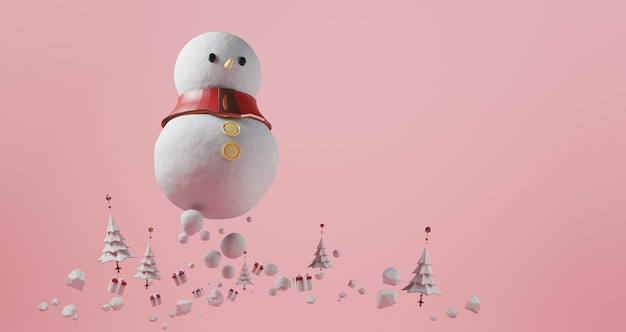 Rendu 3d de noël. bonhomme de neige géant flottant sur fond rose. entouré d'arbres de noël et de coffrets cadeaux, concept minimal abstrait, luxe minimaliste