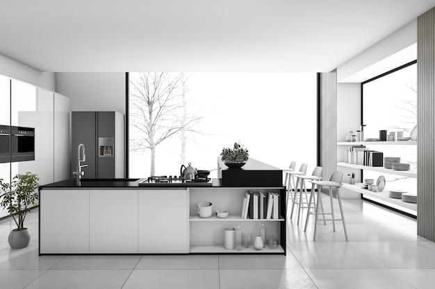 Rendu 3d noir et blanc cuisine moderne et salle à manger loft