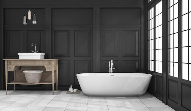 Rendu 3d noir classique salle de bains et toilettes près de la fenêtre