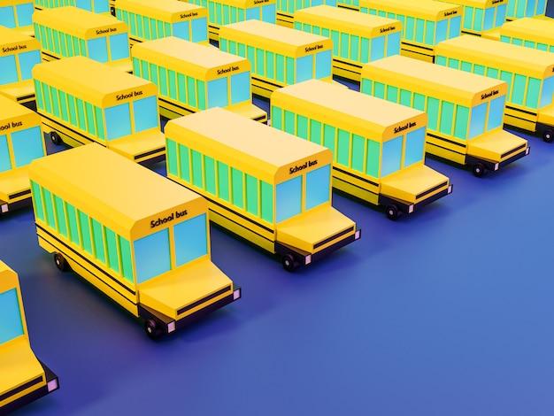 Rendu 3d de nombreux autobus scolaires sur fond bleu dans des couleurs néon. retour au concept de l'école