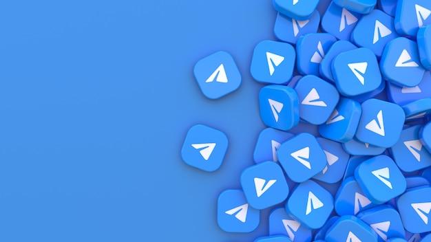 Rendu 3d de nombreux badges carrés de télégrammes sur fond bleu