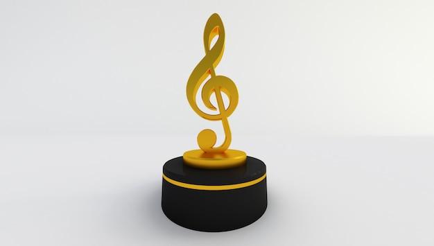 Rendu 3d d'une note de musique dorée isolée