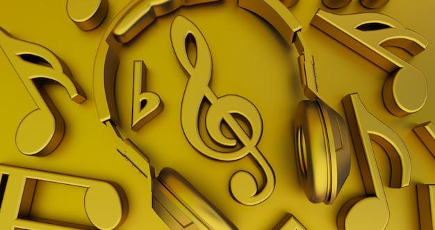Rendu 3d de notes de musique dorées avec casque au milieu, musique concept