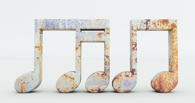 Rendu 3d de notes de musique isolé sur fond blanc, symbole de note de musique en métal rouillé