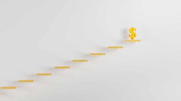 Rendu 3d nouveau fond de luxe, icône de dollar en or sur le graphique de la colonne avec un fond blanc, illustration 3d