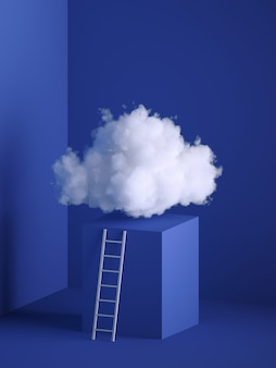 Rendu 3D de nuage blanc doux, podium cube, piédestal, intérieur minimal de la pièce, échelle, escaliers.