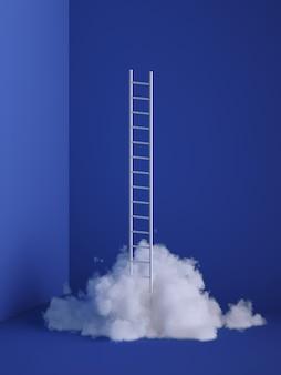 Rendu 3d de nuage blanc moelleux avec échelle