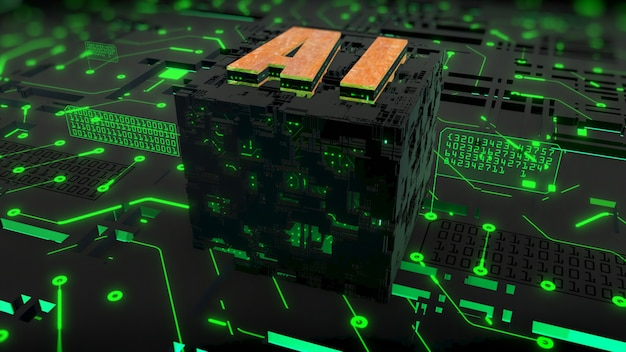 Rendu 3d numérique de l'ia (intelligence artificielle) sur fond de circuit