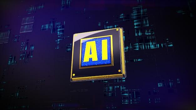 Rendu 3d numérique des processeurs cpu sur fond de circuit