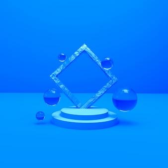 Rendu 3d objet bleu et gouttes d'eau pour le fond