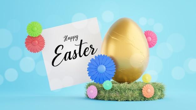 Rendu 3d d'oeuf d'or avec texte sur carte blanche pour joyeuses fêtes de pâques