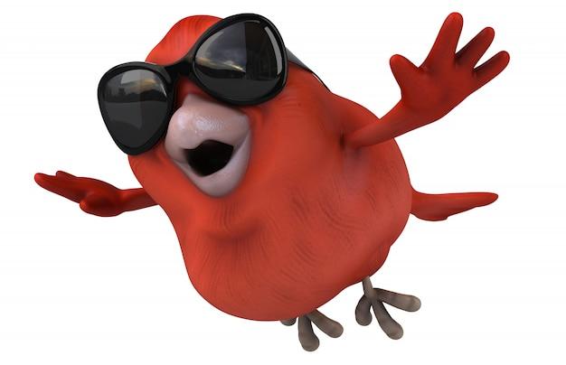 Rendu 3d d'oiseau rouge