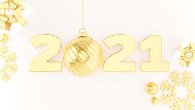 Rendu 3d d'or 2021 bonne année avec décoration