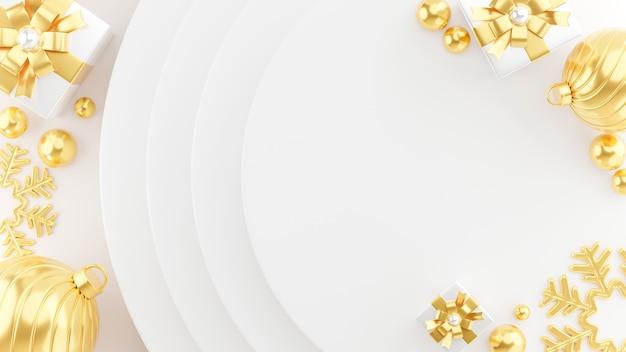 Rendu 3d d'or bonne année flottant hors de la boîte-cadeau