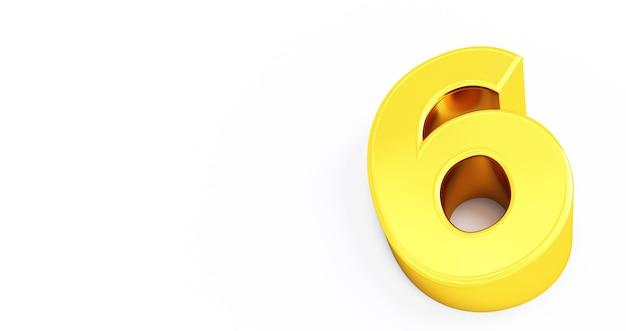 Rendu 3d d'or numéro 6 six fond blanc isolé