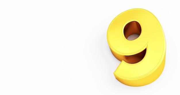 Rendu 3d d'or numéro 9