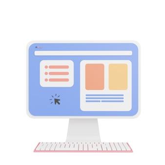 Rendu 3d de l'ordinateur, icônes 3d, style cartoon minimal pastel isolé