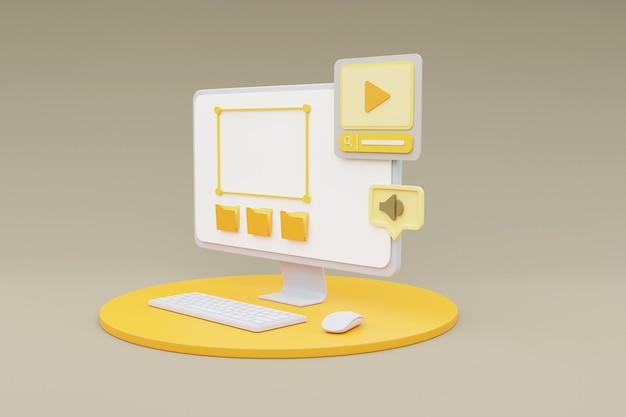 Rendu 3d de l'ordinateur montrant le concept de gestion de contenu multimédia sur fond gris.