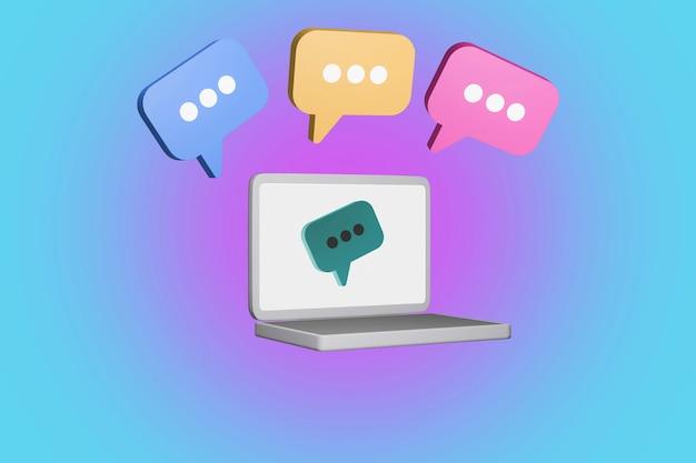 Rendu 3d d'un ordinateur portable avec bulle de dialogue en couleurs concept d'opinion de chat en ligne