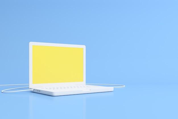 Rendu 3d d'un ordinateur portable à écran jaune blanc sur bleu.