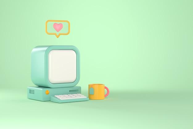 Rendu 3d d'ordinateur rétro et message cardiaque.