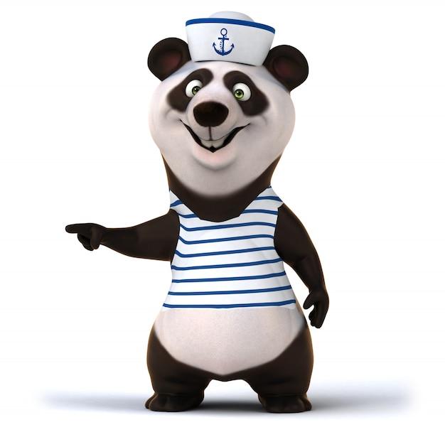Rendu 3d d'ours panda drôle
