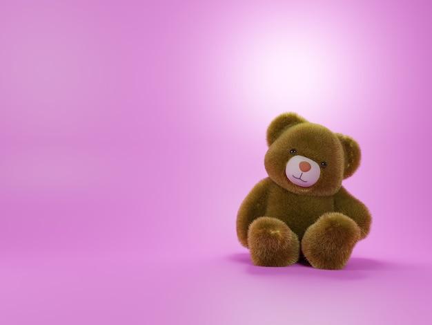 Rendu 3d d'ours en peluche brun sur fond rose
