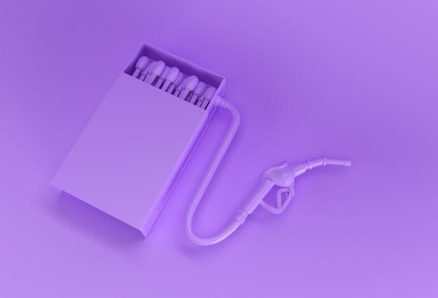Le rendu 3d a ouvert une maquette de boîte d'allumettes vierge avec une buse de pompe à carburant isolée sur un fond de couleur