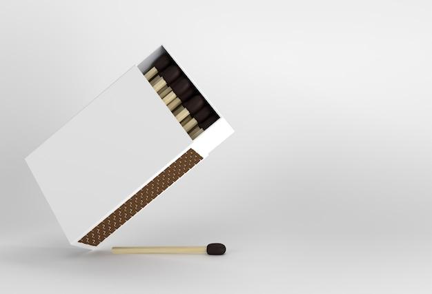 Le rendu 3d a ouvert la maquette de la boîte d'allumettes vierge isolée sur fond de couleur