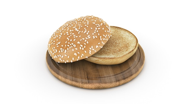 Rendu 3d ouvert de pain de hamburger