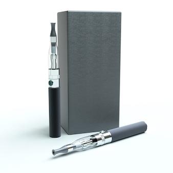 Rendu 3d d'une paire de cigarettes électroniques avec une boîte
