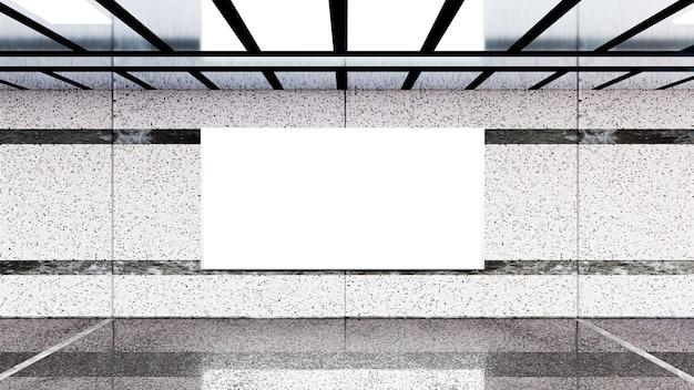 Rendu 3d. panneau d'affichage vide dans le métro. utile pour votre publicité.