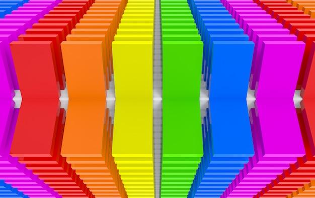 Rendu 3d. panneau de couleur moderne flip lgbt rainbow panneau design fond art mural.