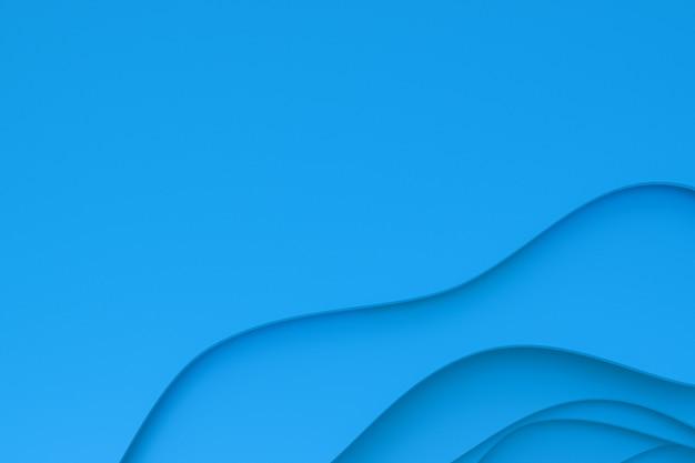 Rendu 3d, papier bleu abstrait découpé design de fond d'art pour modèle d'affiche