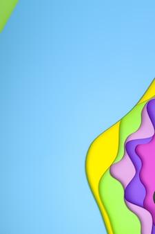 Rendu 3d, papier coloré abstrait découpé design de fond d'art pour le modèle d'affiche, fond coloré