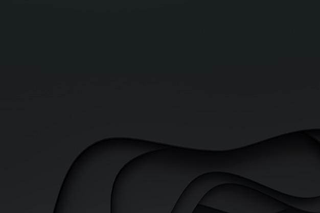 Rendu 3d, papier noir abstrait coupe design d'arrière-plan art pour modèle de site web ou modèle de présentation, fond noir