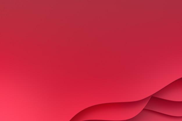 Rendu 3d, papier rouge abstrait coupé design d'arrière-plan art pour modèle de site web ou modèle de présentation, fond rouge, fond pour la saint-valentin