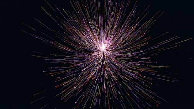Le rendu 3d de particules colorées comme une fleur grandit. lignes lumineuses et particules légères sur fond bleu foncé.