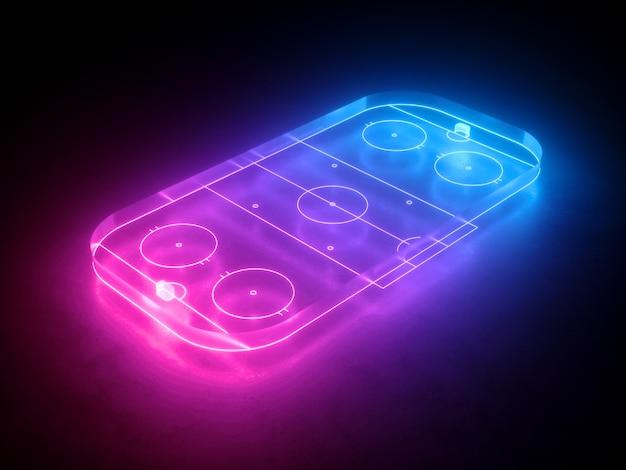Rendu 3d de la patinoire de hockey au néon vue d'angle de vue aire de jeu sportive virtuelle