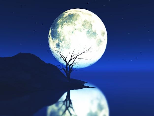 Rendu 3d d'un paysage au clair de lune avec un vieil arbre noueux