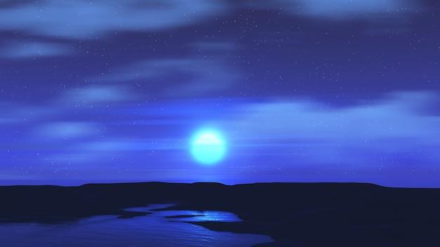 Rendu 3d d'un paysage au clair de lune
