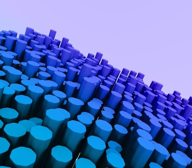 Rendu 3d d'un paysage moderne d'extrusion d'hexagones