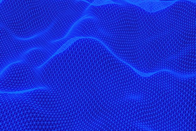 Rendu 3d, paysage numérique abstrait fond bleu avec des points de particules sur fond noir, low poly sur fond noir