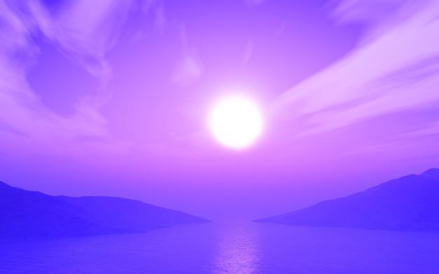 Rendu 3d d'un paysage de l'océan au coucher du soleil avec une teinte violette