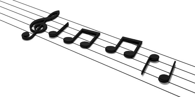 Rendu 3d. pentagramme avec des notes de musique brillantes.