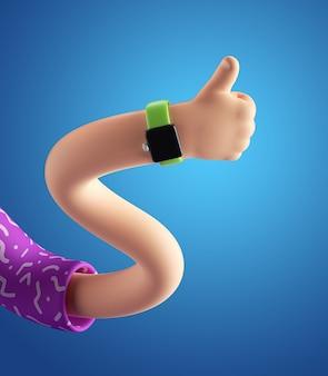 Rendu 3d de personnage de dessin animé abstrait main désossée ondulée flexible.