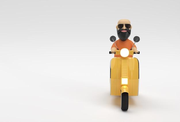 Rendu 3d personnage de dessin animé homme chauve équitation scooter vue latérale sur un fond blanc.