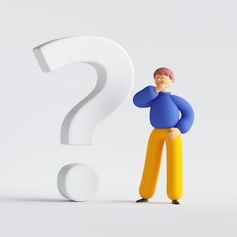 Rendu 3d de personnage de dessin animé homme pensant, cherchant la réponse, debout près du grand point d'interrogation.