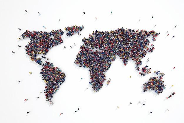 Le rendu 3d des personnes forme les continents du monde
