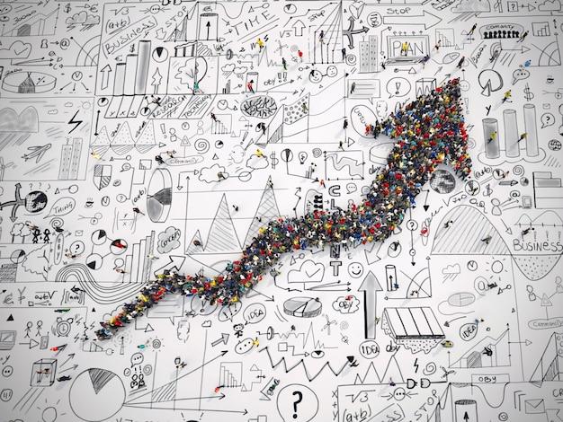 Le rendu 3d de personnes forme une flèche sur la surface des graphiques d'analyse commerciale